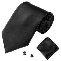 ingrosso disegni di tasca posteriori-Cravatta uomo 26 disegni cravatta maschile in poliestere tinta unita 145 * 10 * 3.5cm Tuta cravatta tascabile e polsini stile business 50 set DHL