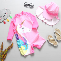 Wholesale baby bathing suits hats resale online - New Summer Baby Girl Swimwear hat Set Cartoon Animals Swimming Suit Infant Toddler Kids Children Beach Bathing Suit