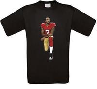 football américain t shirts achat en gros de-Colin Kaepernick T-SHIRT Genou de football américain Black Power