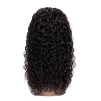 perruque noire rihanna achat en gros de-Pré Plucked Blots Nœuds Couleur Naturelle Perruque Vague D'eau Perruque Brésilienne de Cheveux Humains Avant de Lacet de Perruques Avec Des Cheveux de Bébé Pour Femme Noir