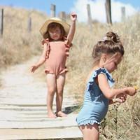 traje de baño de la colmena niños al por mayor-2019 más nuevo caliente de vacaciones niño niños bebé niñas verano de una pieza con volantes traje de baño traje de baño traje de baño ropa de natación