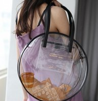 Wholesale transparent plastic shopping bags resale online - Transparent Plastic Handbags For Girls Designer Summer Beach Round Clear Bag Large Women Shoulder Bag Waterproof Shopping Bags Y19061204