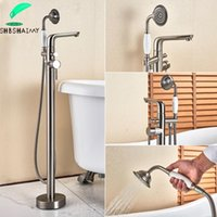 Wholesale swivel hose resale online - SHBSHAIMY Brushed Nickel Floor Standing Bathroom Bathtub Faucet Single Handle Swivel Spout cm Shower Hose Hot Cold Mixer Taps