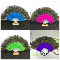 ingrosso ventilatore di piuma del pavone del pavone-Peacock Feather Hand Fan Dancing Performance 21 Bones Pointed Tail Pieghevole fan di danza del ventre Decorazione del partito 23jsE1
