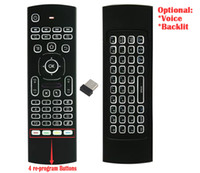Wholesale air mouse keyboard microphone resale online - 1pcs Custom Made MX3 X3 T2 backlit No microphone Mini GHz Wireless Gyroscope Keyboard Air Mouse Remote G Sensor For STB Android TV BOX