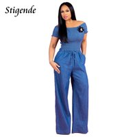 pantalones cortos de una pieza de mezclilla al por mayor-Stigende Mujeres Casual Slash Neck Denim Jumpsuit de manga corta Bodycon Wide Leg Rompers Drawstring One Piece Jumpsuit Overol Y19071701