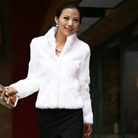 dicker weißer pelz-luxusmantel großhandel-Fashion-Winter Womens Luxury Rabbit Fur Coat Dicke warme Kunstpelzjacke Langarm Damen Flauschiger Mantel Weiß Schwarz Weibliche Oberbekleidung A4