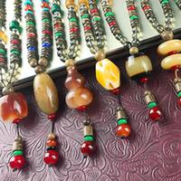 männer hängendes horn großhandel-Nepal Halskette Buddhist Mala Holz Perlen Anhänger Halskette Ethnische Horn Fisch Lange Aussage Schmuck Frauen Männer Aussage Halsketten