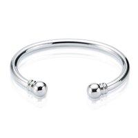 sterling manschetten armbänder großhandel-Neue Ankunft 925 Sterlingsilber-Stulpearmband Drehmoment-normales Armband-Armband-Armbänder der offenen Größe für Frauen Freies Verschiffen