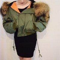 kürklü kaput bombardımanı ceketi toptan satış-YNZZU Chic Kış parkas Donanma bombacı ceket Büyük Kürk Yaka Kapşonlu Kadın ceket Yastıklı fermuar chaquetas biker dış giyim O162