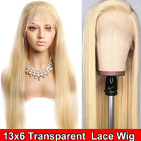 Wholesale lace wigs yaki straight human hair resale online - Glueless Blonde Lace frontal Wig Raw Unprocessed Virgin Brazilian Straight Honey Blonde Human Hair Full Lace Wigs