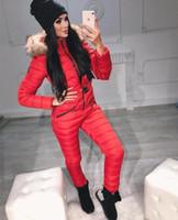 moda parka de nieve al por mayor-Abajo al juego capa gruesa mujeres de la moda parka de invierno siameses cintura femenina delgada bodies de algodón chaqueta de nieve caliente con la correa M1119