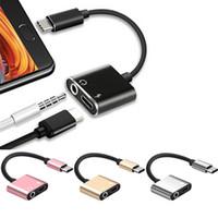 usb kulaklık jakı adaptörü toptan satış-2 in 1 Tip C 3.5mm Jack USB C Şarj Ve Kulaklık AUX Ses Kablosu Adaptörü Splitter Kordon