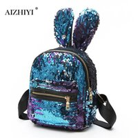 büyük sevimli sırt çantaları toptan satış-Kadın Bling Sequins Sırt Çantası Moda Sevimli Büyük Tavşan Kulakları Çift Omuz Çantası Mini Sırt Çantası Çocuk Kız Seyahat Çantası mochila # 150928