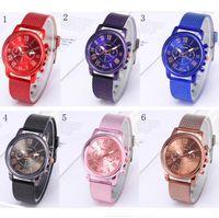 relógios de moda de plástico venda por atacado-Mulheres homens marca GENEVA relógio de malha de plástico cinto de quartzo cintura relógios moda Dual Colors Rubber Strape Watch para Casual Sports Business Style