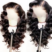 Wholesale soft natural blonde hair color resale online - Natural Looking Soft Long Body Wave Hair Black Color Heat Resistant Synthetic Lace Front Wigs Glueless Swiss Lace Wigs for Black Women