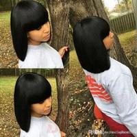 işlenmemiş bakire dantel ön peruk toptan satış-Kısa İnsan Saç Peruk Bang Işlenmemiş Bakire Brezilyalı Düz Tutkalsız Tam Dantel İnsan Saç Siyah Kadınlar Için Kısa Peruk