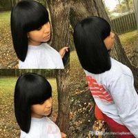 ingrosso acconciature remy indiane-Parrucca corta dei capelli umani con le parrucche corte dei capelli umani non trattate diritte brasiliane vergini non trattate del pizzo per le donne nere