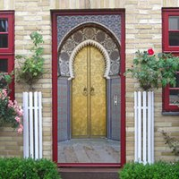 wallpapers doors achat en gros de-2Pcs / Set Islamique Musulman Avec Colle Papier Peint Auto-Adhésif PVC 3D Autocollant Mural Brique Papier Peint Étanche Pour Autocollant De Porte