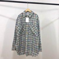 gewebte hemden großhandel-19FW Luxus europäischen gestreiften Hemd frische grüne Farbe Woven Coat Cotton Fashion komfortable Frauen Herren Designer Shirts HFKYTX010
