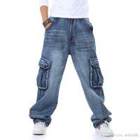 çok pantolon pantolon kot toptan satış-Yeni yağ büyük boy çok cep kot erkekler s artırmak için moda hip-hop halon koşu pantolon uzun streç gevşek denim mavi pantolon tasarımcı