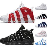 basketbol spor ayakkabıları çevrimiçi toptan satış-Nike Air More Uptempo Erkek Basketbol Ayakkabı Varsity Kırmızı Siyah Beyaz Krom Mavi UNC Atletik Spor Sneakers Online Satış