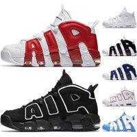 zapatos de bádminton en línea al por mayor-Nike Air More Uptempo Zapatillas de baloncesto para hombre Varsity Rojo Negro Blanco Cromo Azul UNC Athletic Sports Sneakers Venta en línea