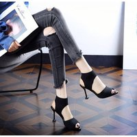 açık ağız topuklu toptan satış-Avrupa ve Amerika Birleşik Devletleri 2019 Yaz açık parmaklı balık ağzı Roma sandalet kadın elastik örme siyah ziyafet ince topuklu yüksek topuklu