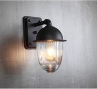 luzes ao ar livre para varanda venda por atacado-À prova d'água e à prova de ferrugem bola de vidro ao ar livre lâmpada de parede Jardim exterior à varanda do corredor luz de parede ao ar livre lâmpada de alumínio - M48
