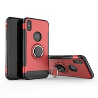 toque para celular venda por atacado-Para iphone xs xs max xr caso de celular com suporte de anel kickstand caso capa traseira robusto dual layer case para iphone 6-x