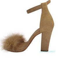 Wholesale blocks heels resale online - Women Shoes Sandals Ladies Block High Heel Sandals Ankle Tie Up Fur Strappy Platforms Shoes Female Elegant zapatos mujer c13