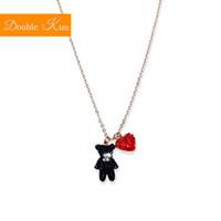 ювелирные изделия из титана оптовых-Small Bear Love Heart Pendant Necklace Titanium Stainless steel Chain Necklace Inlaid Zircon Fashion Trendy Women Jewelry