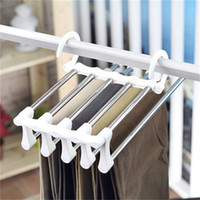 Wholesale pants hangers resale online - Magic Stainless Steel Pants Rack Multi Function Folding Coat Hanger Black And Whit Clothes Hanger Home Outdoor Easy To Use zb H1