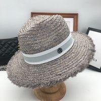 nuevo flash de mar al por mayor-Primavera y verano nuevo M estándar flash gran gris aleros sombrero de paja moda femenina vacaciones playa sol sombrero