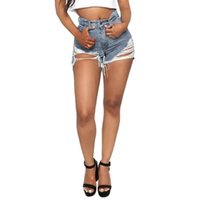 горячее сексуальное женское бедро оптовых-Women Ladies Mid Waist Hole Jeans Skinny Bandage Hot Pants Shorts Denim Jeans mujer Sexy hip pants Hole tearing i