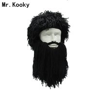 Wholesale ski cap beard resale online - Mr Kooky Men s Women s Crazy Wig Beard Savage Beanie Vagabond Hats Handmade Winter Birthday Gifts Funny Ski Mask Halloween Caps