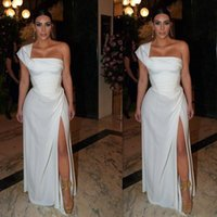 kardashian vestidos para ocasiones especiales al por mayor-Kim Kardashian Split noche usa gasa un hombro 2019 Vestidos de fiesta atractivos Vestido de corte lateral Ocasiones especiales