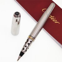 Wholesale high quality cute pens resale online - Luxury Carties brand Silver metal Roller ball Pen ballpoint pen with high quality stationery school office supplies writing smoth Cute gifts