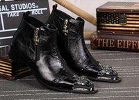 estilo italiano botas homens venda por atacado-Edição limitada Estilo Italiano Ankle Boots de Couro para Homem Moda Rock Punk Rivet Toe Ankle Boots Botas Pontas Homem