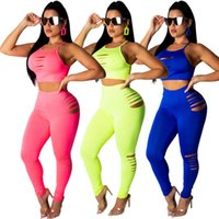 Wholesale motorcycle tank yellow resale online - Women piece set ripped solid color tracksuit sportswear gym Crop top tank top tshirt Bodycon leggings pants Summer Clothing Plus Size