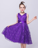 Wholesale purple sleeve flower girl dresses resale online - Binny handmade kid clothing for cute girl summer dress