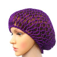 Wholesale crochet hair snood resale online - Women Soft rayon Crochet Hairnet oversize Knit Hat Cap colors Snood Hair Net Headbands lady Hair Accessories drop shipping
