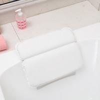 Wholesale bath pillows resale online - Non slip Home Spa Bathtub Pillow Bathroom Headrest Eco friendly Antibacterial Material Powerful Suction Cups Panel Bath Pillow VT0063