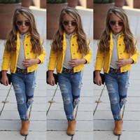 желтое детское пальто оптовых-2019 Spring Autumn Kids Child Baby Girl Clothing Yellow Denim Half Sleeve Jacket Coat Tops Outerwear 1-6T