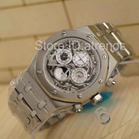 relógio mecânico moonphase venda por atacado-Top de Luxo Relógio Mecânico Automático Auto Enrolamento Homens Mostrador de Prata de Ouro de Aço Inoxidável Completa Chronometer Moonphase Day Day Clock 6124