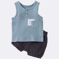 Wholesale oxford style jackets resale online - INS Summer Kids Boys pieces Organic Cotton Double Front Pocket Solid Black Shorts Baby Outfits Organic Linen Cotton Lovely Girls Suits