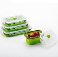 cajas de ensaladas al por mayor-4pcs / set Horno de microondas reutilizable Caja de almuerzo de silicona plegable Contenedor de preparación de comida Caja de almuerzo Bento Box Ensaladera CCA10833 48pcs