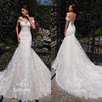 robes de mariée sirène corset dos achat en gros de-Superbe épaules sirène robes de mariée 2020 de dentelle Appliqued chérie Corset Retour Robes de mariée plage