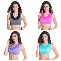 Wholesale Hot Women Fake two piece padded yoga bra running vest rimless bras Gym Sports Yoga Bra Top Vest