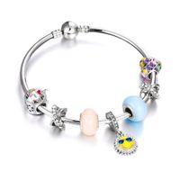 радужный браслет из стразы оптовых-Casual Women Jewelry Rainbow Cartoon Sun Pendant Rhinestone  Charm Bracelets Bangles Silver Plated Fit Summer Girl Gift DIY